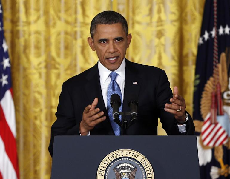 President Barack Obama speaks about the debt limit in the East Room of the White House in Washington, Monday, Jan. 14, 2013. (AP Photo/Carolyn Kaster)
