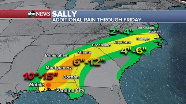 PHOTO: An ABC News weather map shows predictions for additional rain through Friday, Sept. 18, 2020. (ABC News)