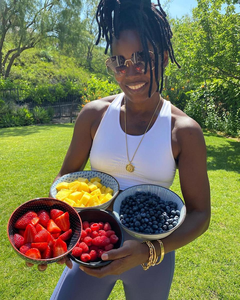 """<div class=""""caption""""> Offsetting my intake of biscuits with fruit. </div> <cite class=""""credit"""">Photo courtesy of Keri Shahidi</cite>"""