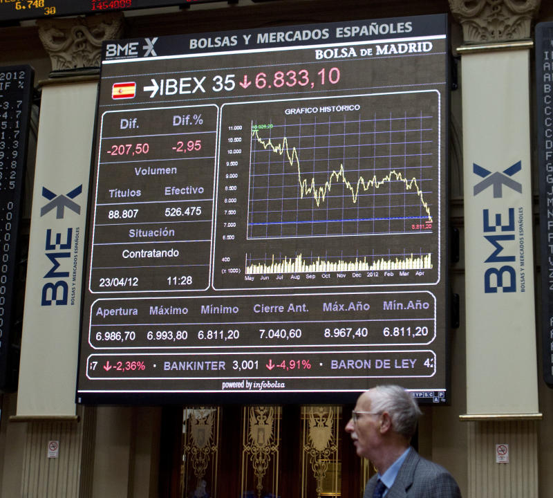 A broker walks in front of the main screen at the stock exchange in Madrid, Monday April 23, 2012.  Spain is back in recession as the economy contracted 0.4 percent in the first quarter of the year, the central bank said Monday. The figure published in a Bank of Spain monthly report followed a 0.3 percent decline in the fourth quarter. Spain is struggling with the ruinous aftermath of an exploded real estate bubble that had fueled nearly a decade of solid and sometimes robust growth. It was only in 2010 that it emerged from nearly two years of recession, and now it is back in another one. (AP Photo/Paul White)