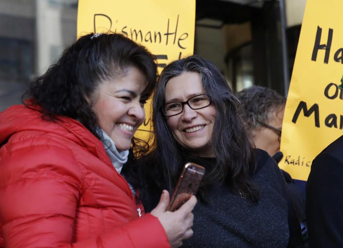 Maru Mora-Villalpando, right, with supporter Nestora Salgado at a news conference announcing that Mora-Villalpando, a longtime activist for illegal immigrants in the Northwest, is now facing deportation, Jan. 16, 2018, in Seattle. (Photo: Elaine Thompson/AP)