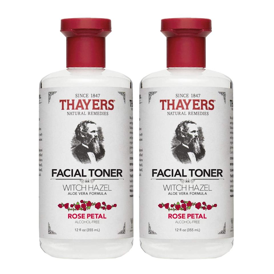 "<p>This <a href=""https://www.popsugar.com/buy/Thayers-Rose-Petal-Witch-Hazel-Aloe-Vera-548582?p_name=Thayers%20Rose%20Petal%20Witch%20Hazel%20with%20Aloe%20Vera&retailer=amazon.com&pid=548582&price=18&evar1=bella%3Auk&evar9=47213277&evar98=https%3A%2F%2Fwww.popsugar.com%2Fbeauty%2Fphoto-gallery%2F47213277%2Fimage%2F47213398%2FThayers-Rose-Petal-Witch-Hazel-with-Aloe-Vera&list1=shopping%2Cbeauty%20products%2Cacne%2Cbeauty%20shopping%2Cproduct%20reviews%2Cacne%20treatments%2Cskin%20care&prop13=api&pdata=1"" rel=""nofollow"" data-shoppable-link=""1"" target=""_blank"" class=""ga-track"" data-ga-category=""Related"" data-ga-label=""https://www.amazon.com/Thayers-Rose-Petal-Witch-Hazel/dp/B001E0R22Y/ref=sr_1_3?crid=37RUS9AYDAVDM&amp;keywords=toner+thayers+rose+petal&amp;qid=1581532699&amp;sprefix=toner+thayers+rose+%2Caps%2C204&amp;sr=8-3"" data-ga-action=""In-Line Links"">Thayers Rose Petal Witch Hazel with Aloe Vera </a> ($18, set of two) is a great daily product that keeps my skin clean and unclogged. It's more gentle than typical toners, so it's ideal for sensitive skin. I appreciate that it isn't drying - my face feels refreshed after I apply it with a cotton pad.</p>"