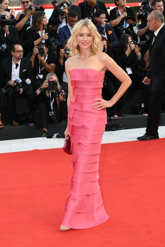 <p>Wearing Giorgio Armani Privé to the film festival opening ceremony and screening of <em>First Man.</em></p>