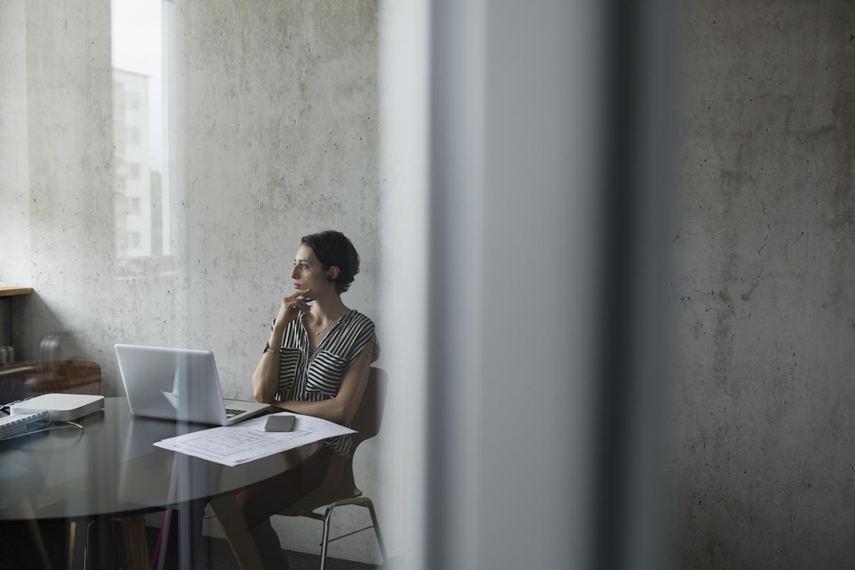 """<h1 class=""""title"""">Pensive female architect at laptop looking away in conference room</h1> <div class=""""caption""""> Coaching, support, and mentoring are critical to the industry, say insiders like Rosa Sheng, founding chair of Equity by Design. </div> <cite class=""""credit"""">Photo: Getty Images</cite>"""