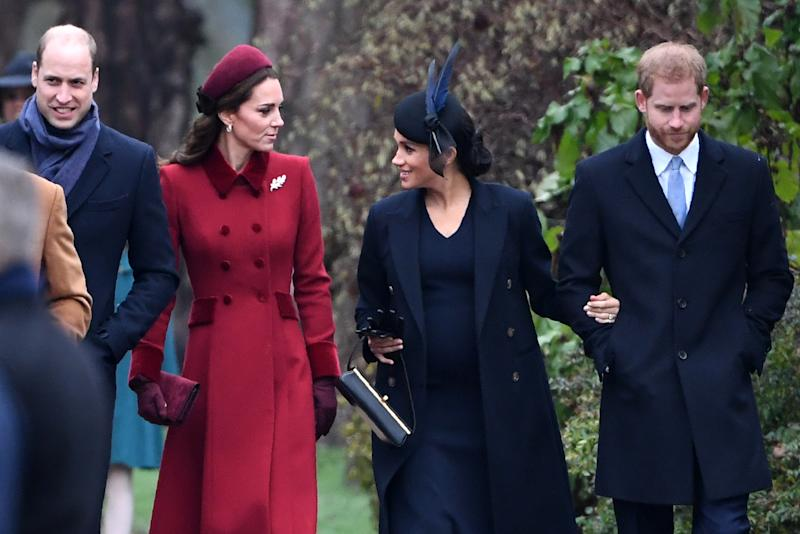 (L-R) Britain's Prince William, Duke of Cambridge, Britain's Catherine, Duchess of Cambridge, Meghan, Duchess of Sussex and Britain's Prince Harry, Duke of Sussex arrive for the Royal Family's traditional Christmas Day service at St Mary Magdalene Church in Sandringham, Norfolk, eastern England, on December 25, 2018. (Photo by Paul ELLIS / AFP) (Photo credit should read PAUL ELLIS/AFP/Getty Images)