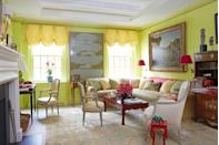 "<p>Accents of red and yellow shine against the bold lime green on the walls of design historian <a href=""https://maureenfooter.com"" rel=""nofollow noopener"" target=""_blank"" data-ylk=""slk:Maureen Footer"" class=""link rapid-noclick-resp"">Maureen Footer</a>'s Manhattan living room. The custom sofa is in a <a href=""http://www.rubelli.com/en/"" rel=""nofollow noopener"" target=""_blank"" data-ylk=""slk:Bergamo"" class=""link rapid-noclick-resp"">Bergamo</a> fabric and the sconces are from <a href=""http://www.urbanarchaeology.com"" rel=""nofollow noopener"" target=""_blank"" data-ylk=""slk:Urban Archaeology"" class=""link rapid-noclick-resp"">Urban Archaeology</a>. </p><p><a class=""link rapid-noclick-resp"" href=""https://www.valspar.com/en/colors/browse-colors/lowes/green/lime-mousse-6008-9b"" rel=""nofollow noopener"" target=""_blank"" data-ylk=""slk:Get the Look"">Get the Look</a></p>"
