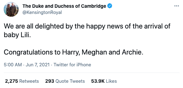 Tweet from @KensingtonRoyal congratulating Prince Harry and Meghan Markle on the birth of their second child, daughter Lili on June 6, 2021. Photo: Twitter/@KensingtonRoyal.