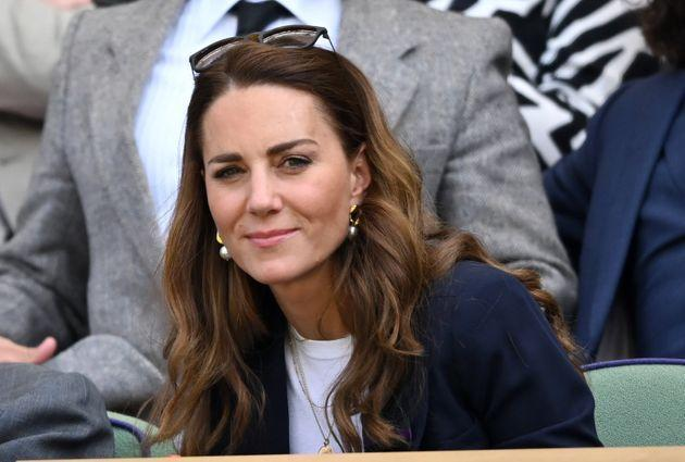 LONDON, ENGLAND - JULY 02: Catherine, Duchess of Cambridge attends the Wimbledon Tennis Championships at the All England Lawn Tennis and Croquet Club on July 02, 2021 in London, England. (Photo by Karwai Tang/WireImage) (Photo: Karwai Tang via Getty Images)