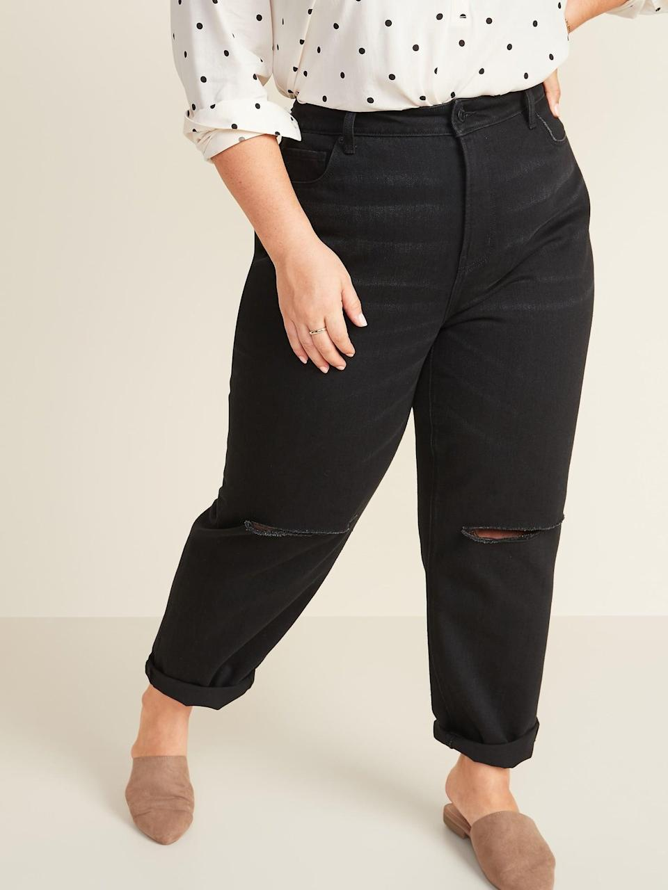 <p>These <span>Old Navy Extra High-Waisted Sky Hi Straight Ripped Black Non-Stretch Jeans</span> ($38, originally $42) will become a new go-to pair.</p>