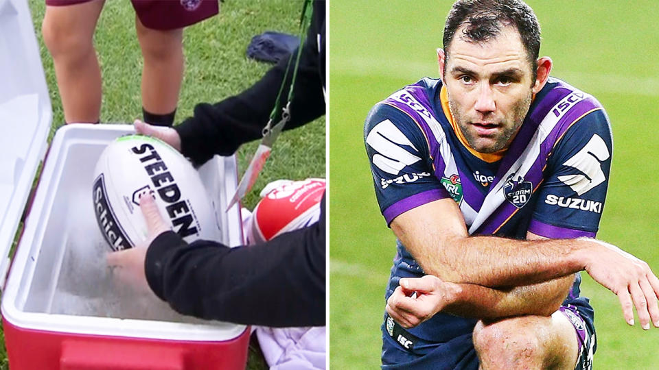 Cameron Smith and the Melbourne Storm, pictured here beating Manly with balls being washed due to coronavirus.
