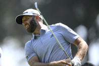 Dustin Johnson tees off on the sixth hole during the ProAm at the BMW Championship golf tournament, Wednesday, Aug. 25, 2021, at Caves Valley Golf Club in Owings Mills, Md. The BMW Championship tournament begins Thursday. (AP Photo/Nick Wass)