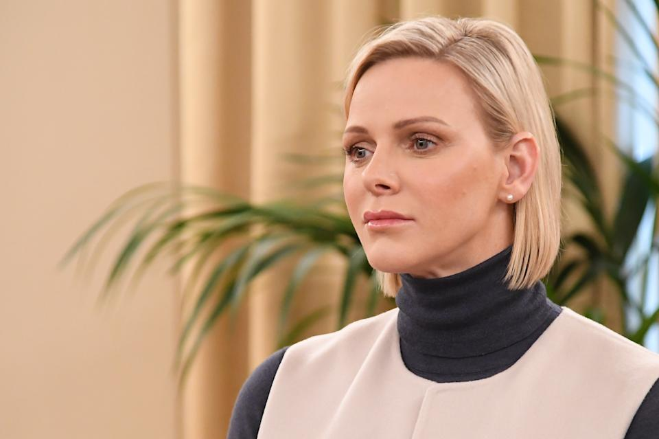 MONTE-CARLO, MONACO - NOVEMBER 15: Princess Charlene of Monaco attends a Christmas gift-giving event at the headquarters of the Red Cross on November 15, 2019 in Monte-Carlo, Monaco. (Photo by Stephane Cardinale - Corbis/Corbis via Getty Images)