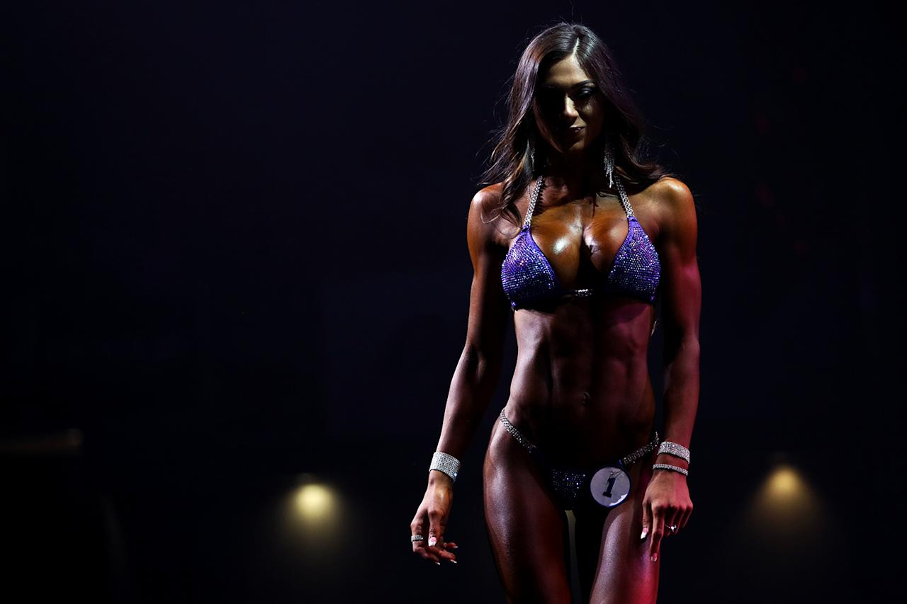 <p>Janet Layug walks off stage during the Bikini International competition at the Greater Columbus Convention Center during the Arnold Sports Festival 2017 on March 4, 2017 in Columbus, Ohio. (Photo: Maddie Meyer/Getty Images) </p>