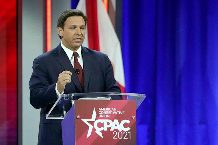 Florida Gov. Ron DeSantis speaks at the Conservative Political Action Conference (CPAC) Friday, Feb. 26, 2021, in Orlando.