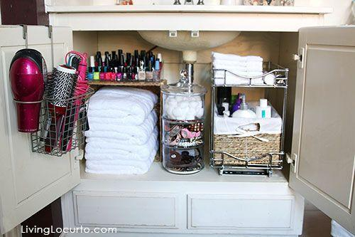 """<p>But with a little attention to detail, it now serves as a linen closet <em>and</em> bathroom essentials storage unit. Fresh linens are tucked under a shelf that holds nail polish, while hair tools hang from the door. </p><p><em><a href=""""http://www.livinglocurto.com/2015/03/bathroom-organization-ideas/"""" rel=""""nofollow noopener"""" target=""""_blank"""" data-ylk=""""slk:See more at Living Locurto »"""" class=""""link rapid-noclick-resp"""">See more at Living Locurto »</a></em></p><p><strong>What you'll need: </strong><span class=""""redactor-invisible-space"""">storage drawers, $25, <a href=""""https://www.amazon.com/Halter-Storage-Drawers-Baskets-Bathroom/dp/B072F3GL18/?tag=syn-yahoo-20&ascsubtag=%5Bartid%7C2139.g.36060899%5Bsrc%7Cyahoo-us"""" rel=""""nofollow noopener"""" target=""""_blank"""" data-ylk=""""slk:amazon.com"""" class=""""link rapid-noclick-resp"""">amazon.com</a></span><br></p>"""