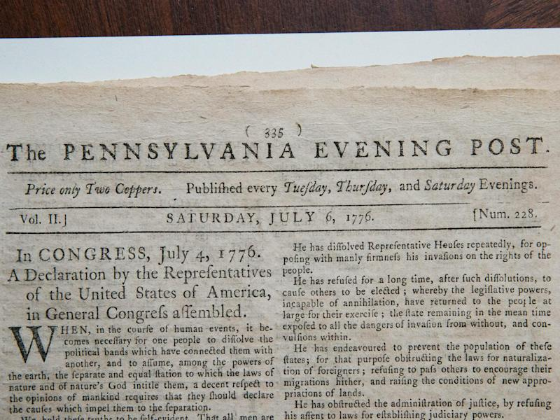 The first known newspaper printing of the Declaration of Independence, printed on 6 July 1776 in The Pennsylvania Evening Post,: Andrew Burton/Getty Images