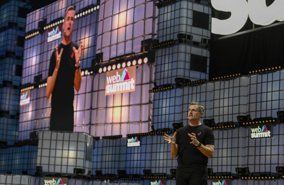 "Ronan Dunne, Executive Vice President & Group CEO, Verizon, lectures on ""Are you ready for 5G?"" at Center SAtage of Web Summit in Altice Arena on November 05, 2019 in Lisbon, Portugal. Photo: Getty"