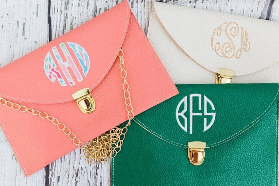 <p>We're obsessed with this <span>Monogrammed Envelope Clutch</span> ($22 each).</p>