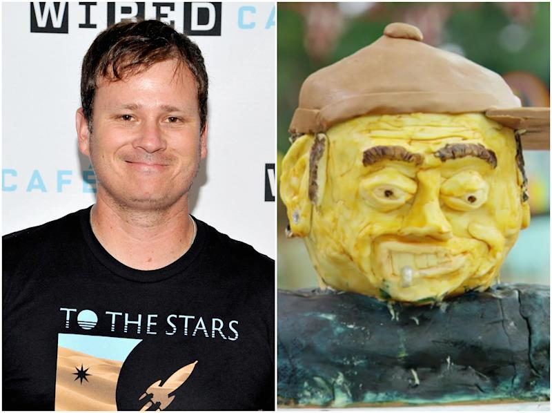 DeLonge in human and cake form (Getty Images/Channel 4)