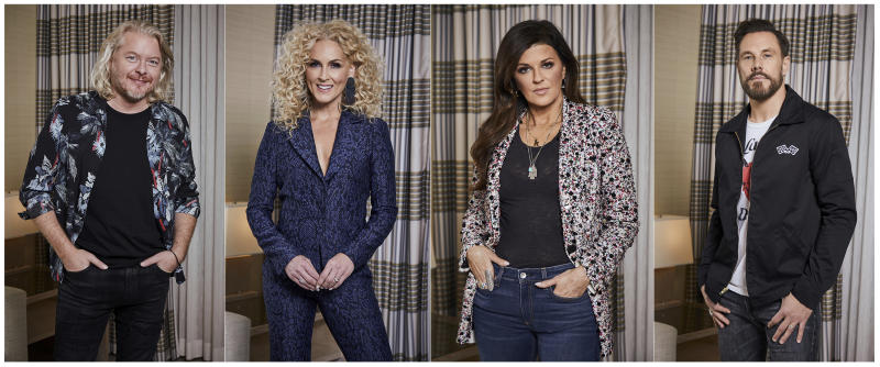 """This combination of photos taken on Jan. 13, 2020 shows members of the country group Little Big Town, from left, Phillip Sweet, Kimberly Schlapman, Karen Fairchild and Jimi Westbrook posing for a portrait in New York to promote their new album """"Nightfall,"""" out on Friday.  (Photos by Matt Licari/Invision/AP)"""