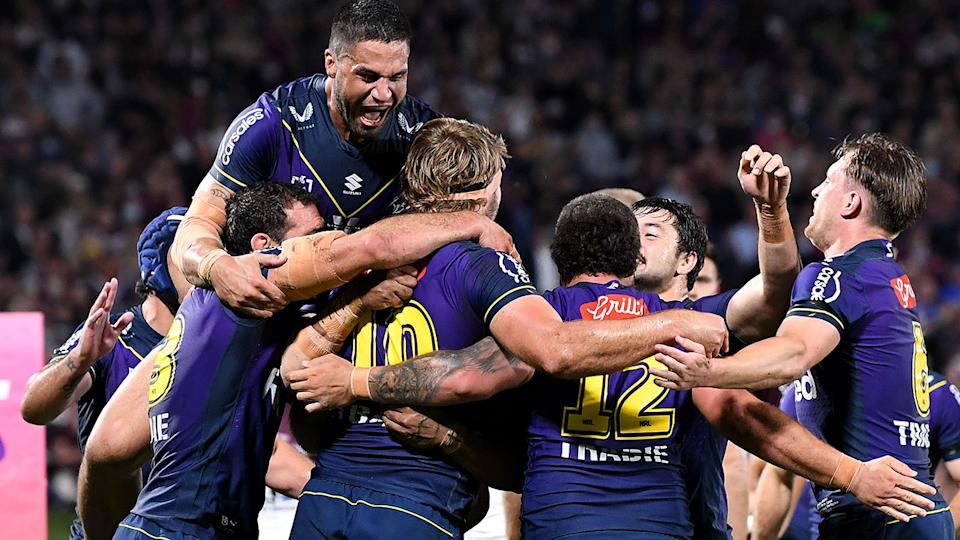 Melbourne Storm's preliminary final has been changed to an earlier 4pm slot to avoid clashing with the AFL grand final. Pic: Getty