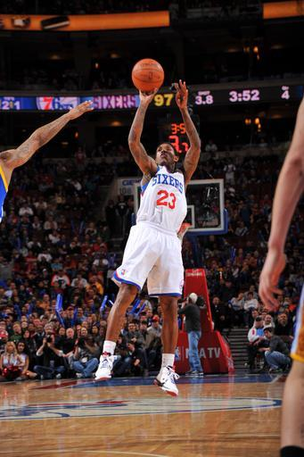 PHILADELPHIA, PA - MARCH 2: Louis Williams #23 of the Philadelphia 76ers shoots against the Golden State Warriors on March 2, 2012 at the Wells Fargo Center in Philadelphia, Pennsylvania. (Photo by Jesse D. Garrabrant/NBAE via Getty Images)