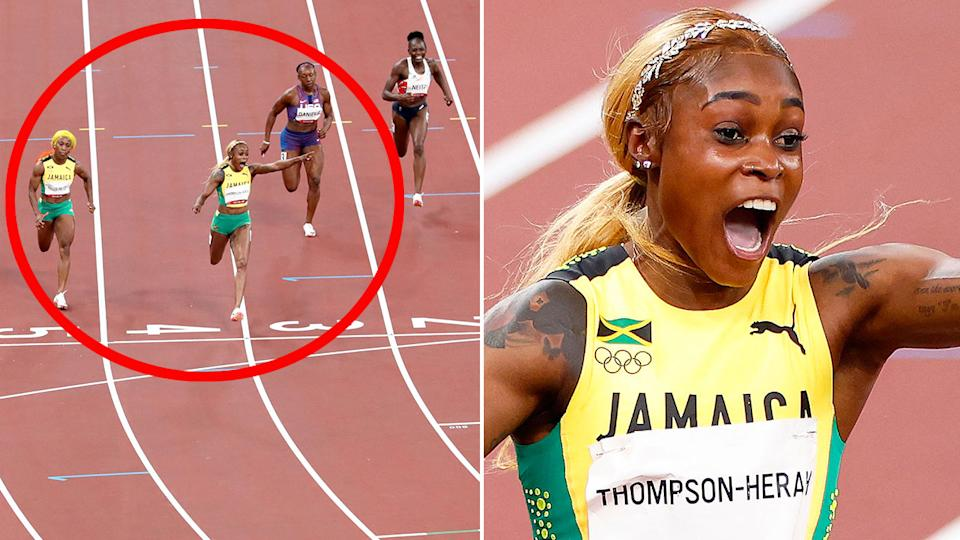 Seen here, Elaine Thompson-Herah celebrates after winning gold in the 100m sprint.