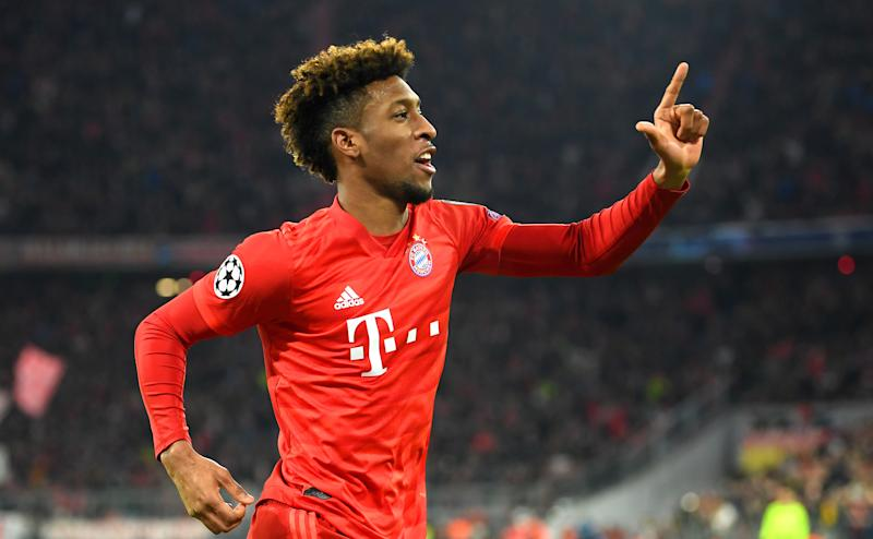 MUNICH, GERMANY - DECEMBER 11: Kingsley Coman of FC Bayern Munich celebrates after scoring his team's first goal during the UEFA Champions League group B match between Bayern Muenchen and Tottenham Hotspur at Allianz Arena on December 11, 2019 in Munich, Germany. (Photo by Michael Regan/Getty Images)