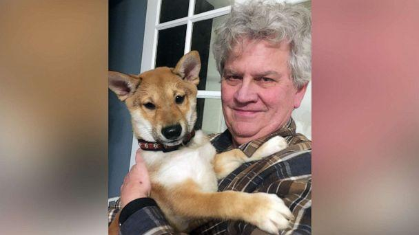 PHOTO: Mike Krueger holds his puppy Taka in a 2019 photo. Krueger and his wife Olga, of Morrison, Ill., only had Taka for a few days before the dog died from parvovirus. (Courtesy Krueger Family)