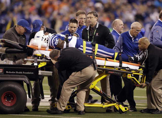 "<a class=""link rapid-noclick-resp"" href=""/nfl/teams/ind/"" data-ylk=""slk:Indianapolis Colts"">Indianapolis Colts</a> tight end Brandon Williams is taken off the field after being injured during the first half of a ""Thursday Night Football"" game against the Denver Broncos in December. (AP)"