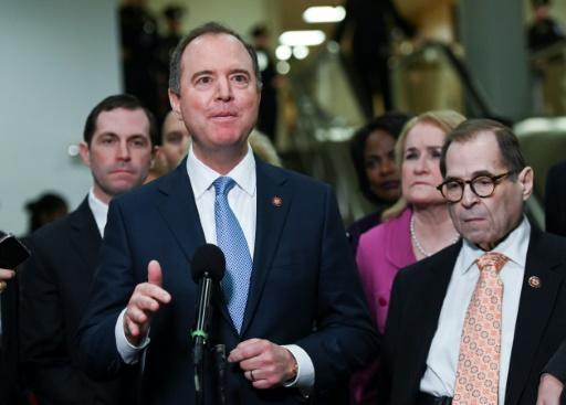 House Managers Adam Schiff (C) and Jerry Nadler (R) speak to reporters on the fourth day of the Senate impeachment trial on January 24