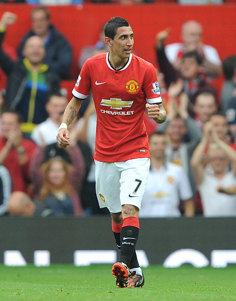Angel Di Maria celebrating for Manchester United.