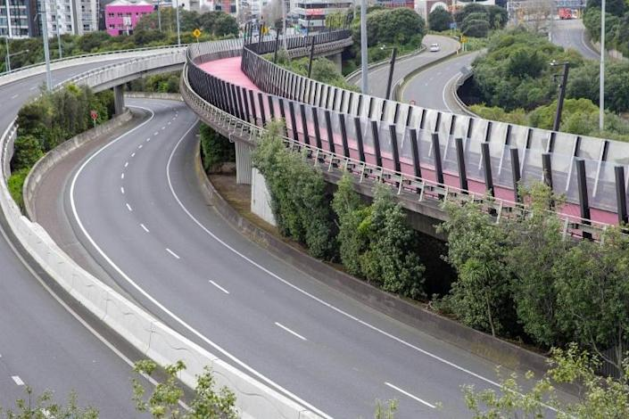 The normally busy central motorway interchange is deserted mid-morning in Auckland, New Zealand