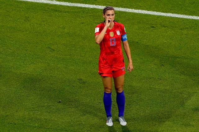 Alex Morgan sipped some tea Tuesday. (Photo by Geert van Erven/Soccrates/Getty Images)