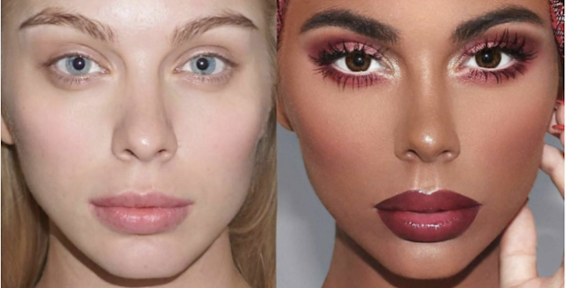 Makeup artist Paintdatface's makeup transformation, pictured here, is causing controversy. (Photo: Instagram/Annathorsell)