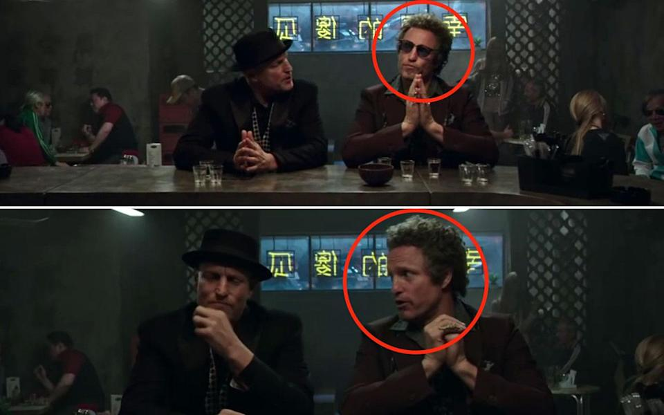 <p>While Chase and Merritt are drinking in the bar, in one shot Chase is wearing sunglasses, in the next shot the sunglasses have disappeared. Credit: eOne UK </p>