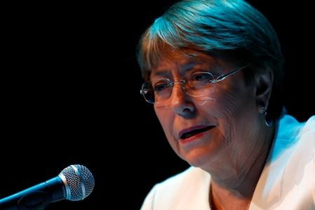 U.N. High Commissioner for Human Rights Michelle Bachelet holds a news conference in Mexico City