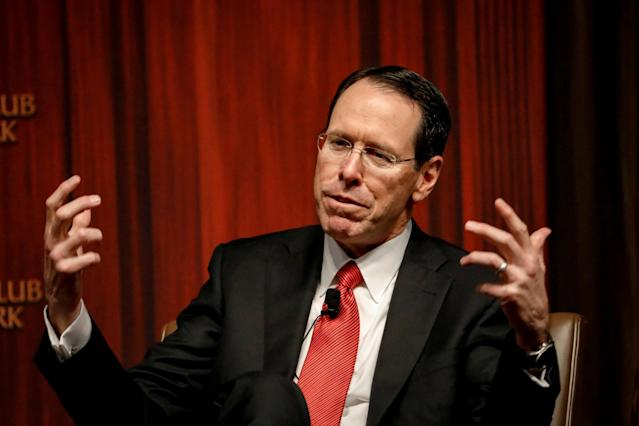 AT&T CEO Randall Stephenson speaks during a moderated discussion before the Economic Club of New York, in New York City, U.S., November 29, 2017. REUTERS/Brendan McDermid
