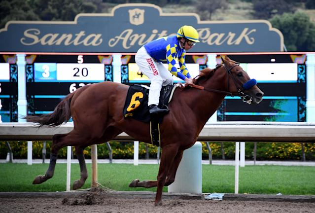 The new rule will prohibit jockeys from striking a horse more than six times in a single race, among other things. (Keith Birmingham/MediaNews Group/Pasadena Star-News via Getty Images)