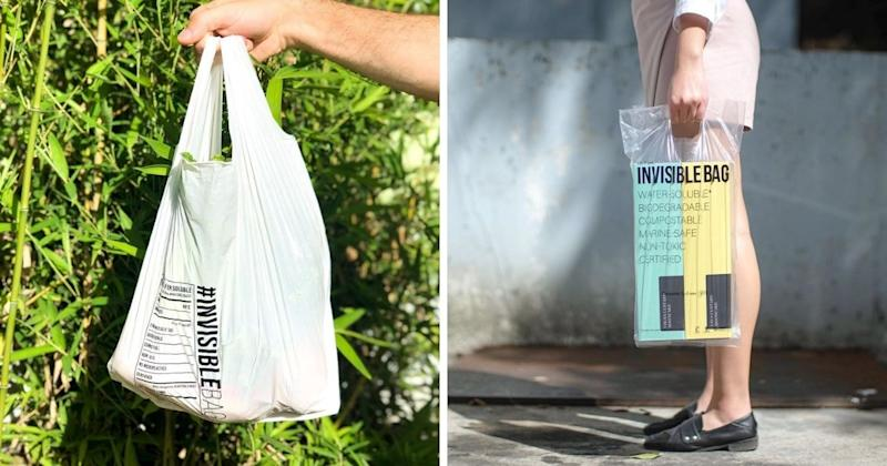 """<p>A Hong Kong start-up company has launched an eco-friendly plastic bag dubbed """"Invisible Bag"""" (Courtesy of @daction.today/Instagram)</p>"""