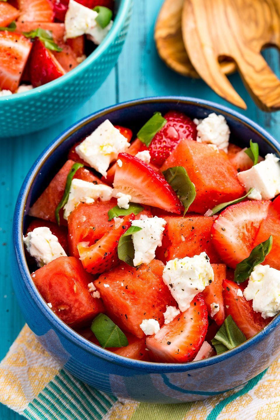 """<p>For when tomatoes just won't cut it, get creative with your caprese by adding strawberries and watermelon.</p><p>Get the recipe from <a href=""""https://www.delish.com/cooking/recipe-ideas/recipes/a47361/watermelon-strawberry-caprese-salad-recipe/"""" rel=""""nofollow noopener"""" target=""""_blank"""" data-ylk=""""slk:Delish"""" class=""""link rapid-noclick-resp"""">Delish</a>.</p>"""