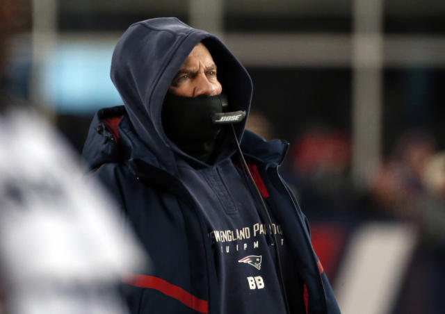 New England Patriots head coach Bill Belichick watches from the sideline during the second half of an NFL divisional playoff football game against the Tennessee Titans, Saturday, Jan. 13, 2018, in Foxborough, Mass. (AP)