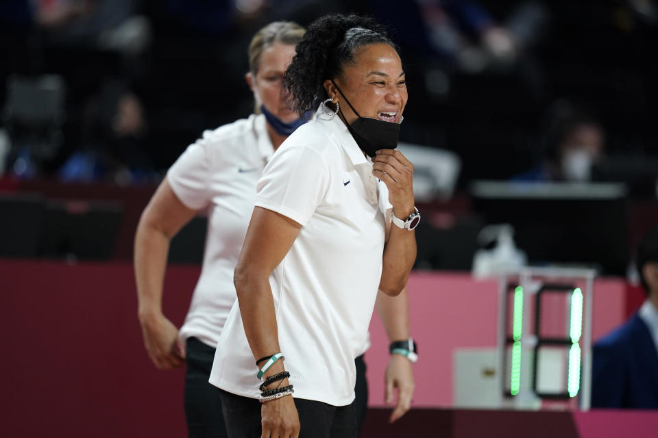 United States head coach Dawn Staley reacts during a women's basketball quarterfinal round game against Australia at the 2020 Summer Olympics, Wednesday, Aug. 4, 2021, in Saitama, Japan. (AP Photo/Charlie Neibergall)