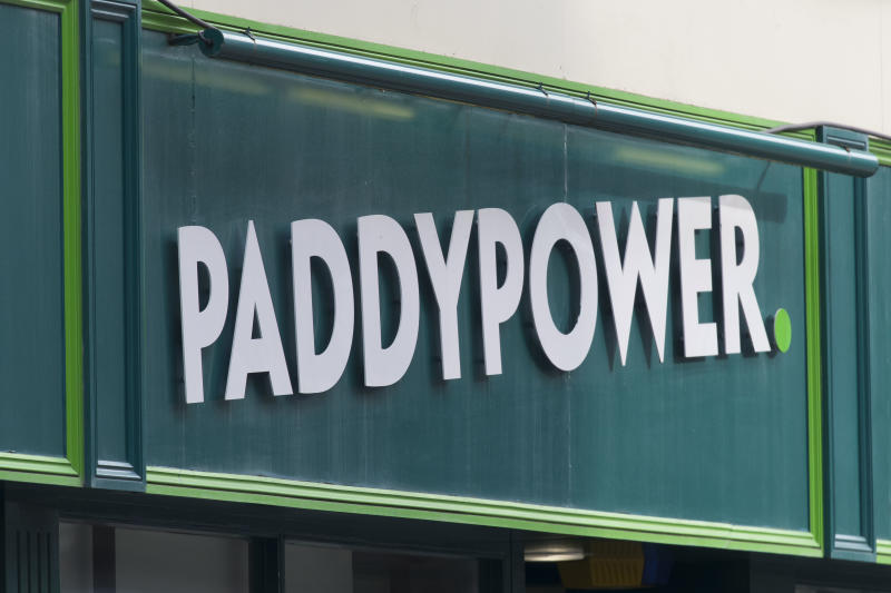 CARDIFF, UNITED KINGDOM - FEBRUARY 23: A close-up of a Paddypower bookmakers shop sign on February 23, 2018 in Cardiff, United Kingdom. (Photo by Matthew Horwood/Getty Images)