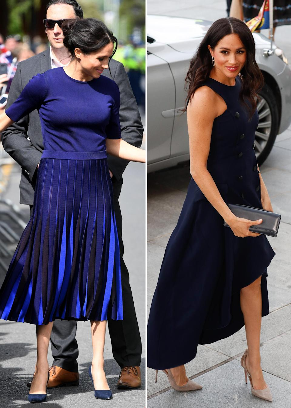 A couple of Meghan's outfits during her recent royal tour, the one on the left was criticised for having a semi-transparent skirt. Photo: Getty