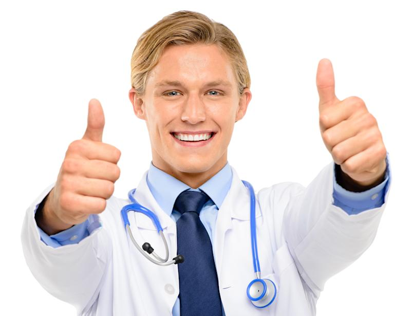 Doctor giving double thumbs up