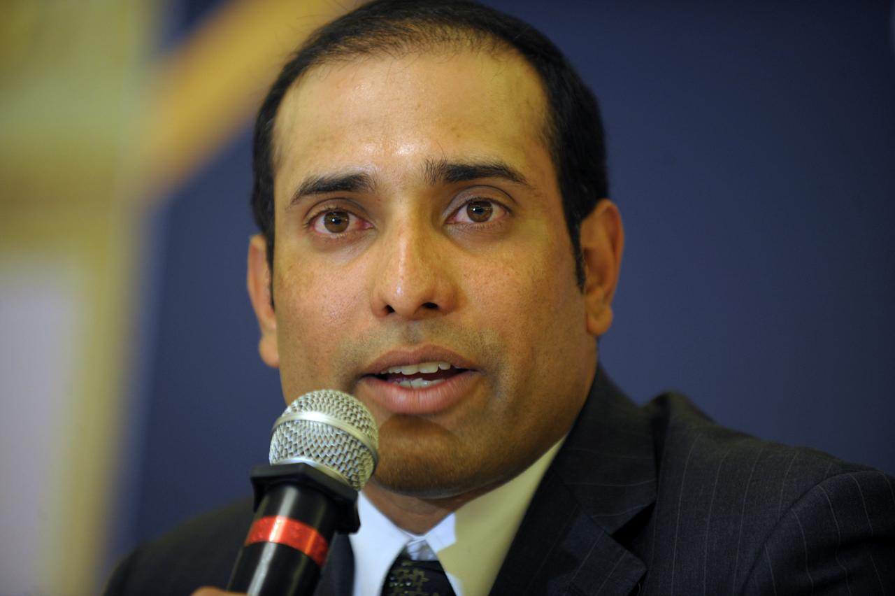 Indian cricketer Vangipurappu Venkata Sai (VVS) Laxman speaks at a press conference held to announce his retirement from Test Cricket at the Rajiv Gandhi International cricket stadium in Hyderabad on August 18, 2012. Veteran Indian batsman Vangipurappu Venkata Sai Laxman announced his retirement from international cricket on Saturday, saying it was time to make way for the next generation.   AFP PHOTO / Noah SEELAM