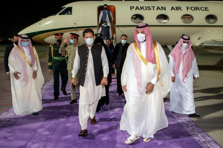 Saudi Arabia's de facto ruler Crown Prince Mohammed bin Salman welcomes Pakistani Prime Minister Imran Khan to Jeddah for talks on restoring the two countries' close alliance after months of strain
