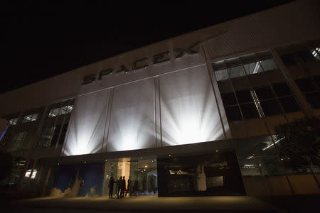 An exterior of the SpaceX headquarters in Hawthorne