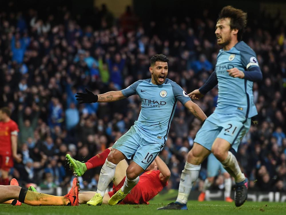 Aguero's second-half goal was enough to secure City a point: Getty